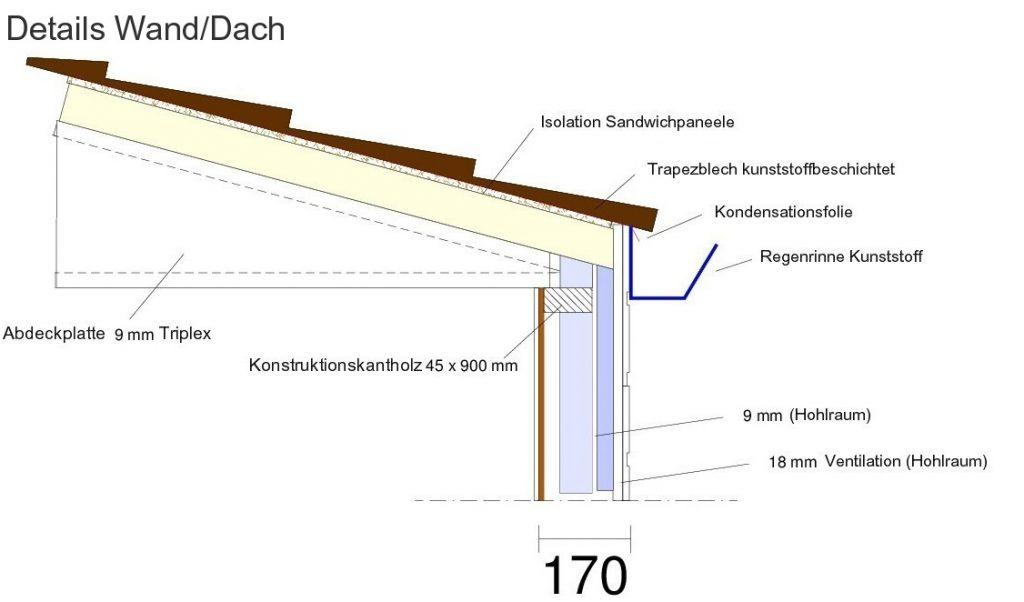 konstruktionsdetails wand dach