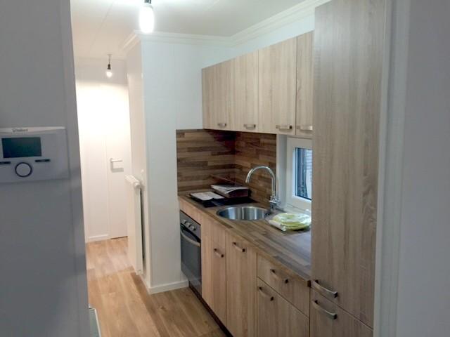 einteiliges Kundenmobilheim 4,60 x 12,00 m Kochen