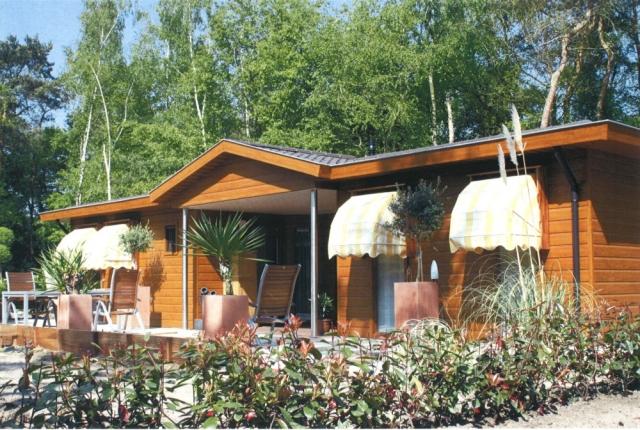 Mobilheim mit Fassade in Holzoptik und Kapitänsgiebel im Eingangsbereich