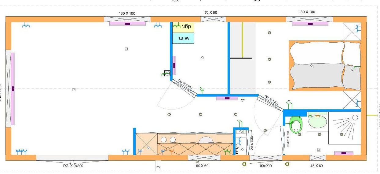 Grundriss Ausstellungsmodell 4,00 x 10,00 m mit 2 Schlafzimmern, Küchenzeile und Bad