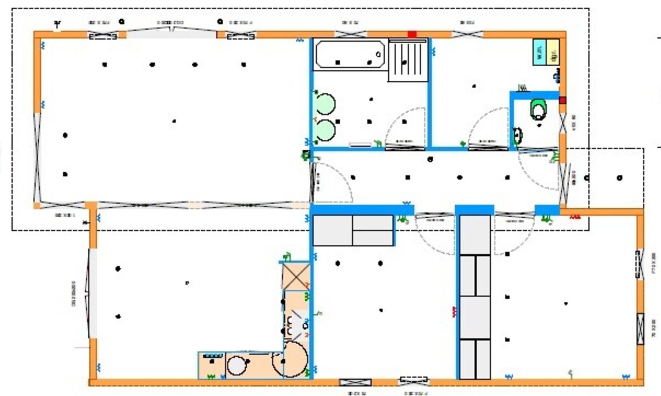 Grundrissentwurf EcoSun 100 qm 8,00 x 9,30/8,70 m