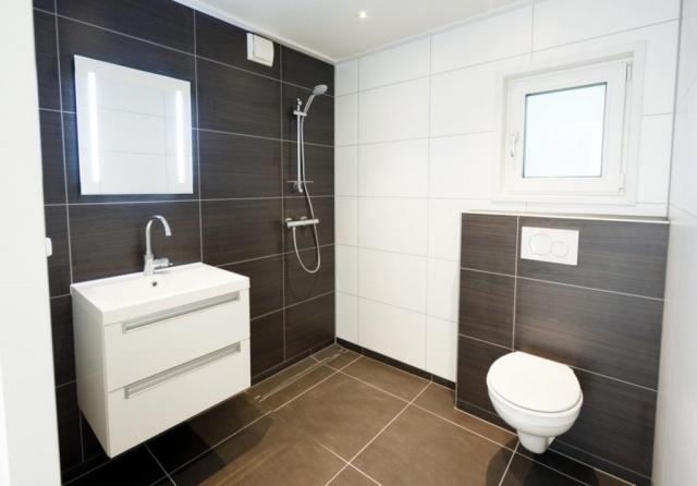 Mobilheim EcoSun Badezimmer mit Badezimmermöbel und Hänge-WC
