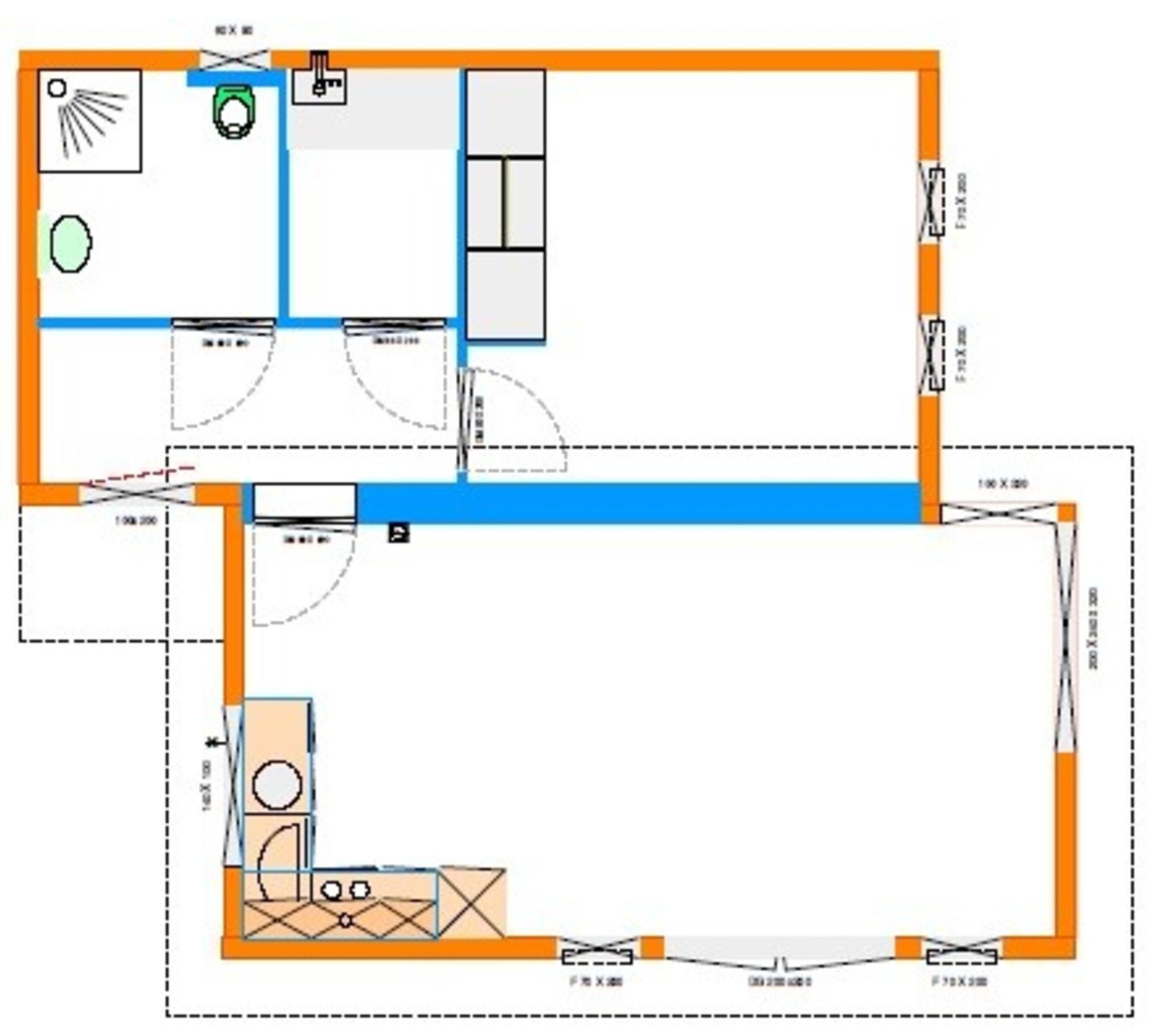 Grundrissentwurf EcoSun 60 qm 8,00 x 8,10/7,50 m