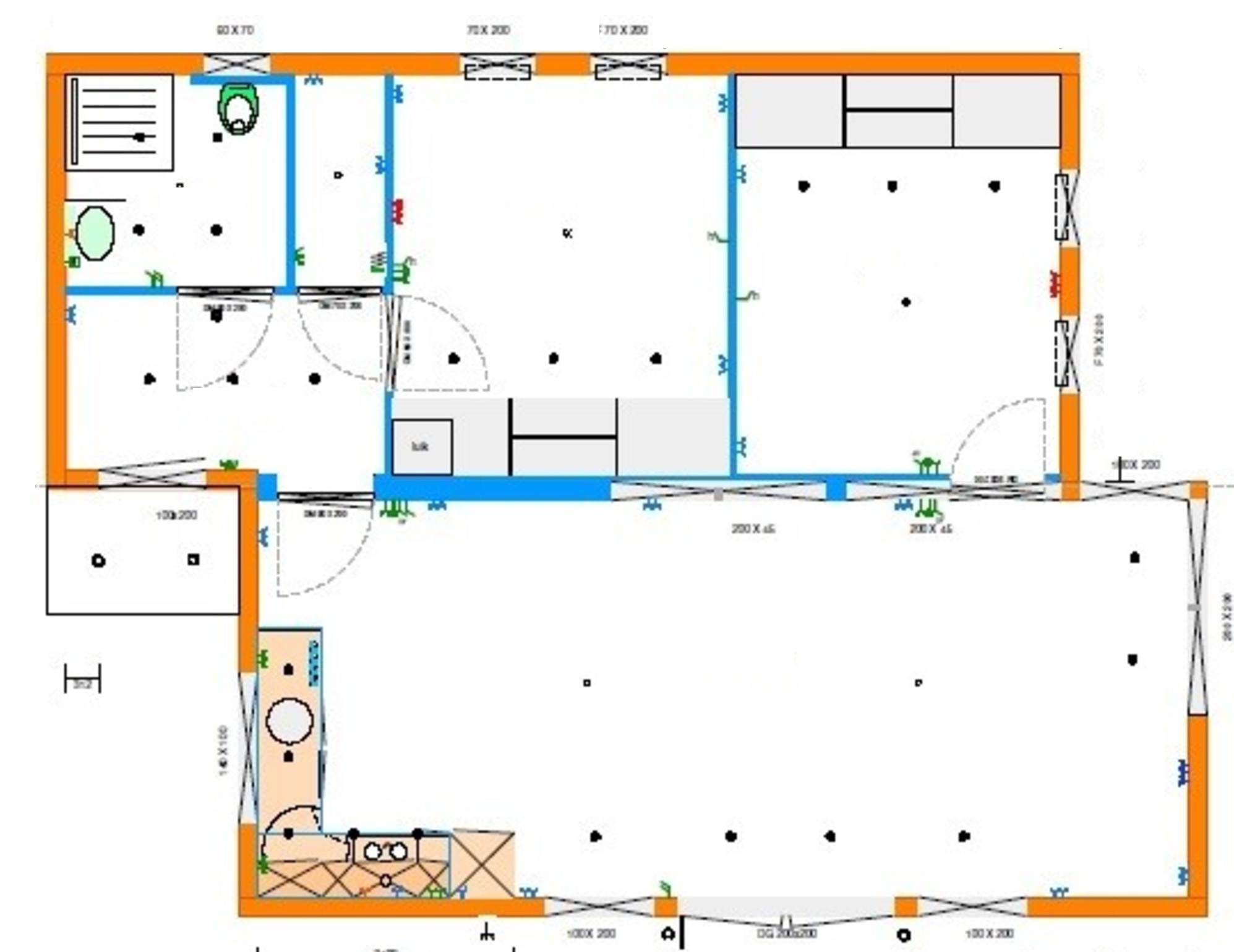 Grundrissentwurf EcoSun 75 qm 8,00 12,50 m