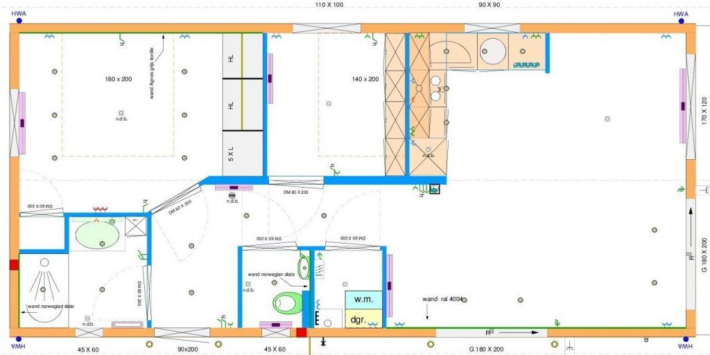 Grundrissentwurf einteiliges Mobilheim 5,00 x 13,00 m