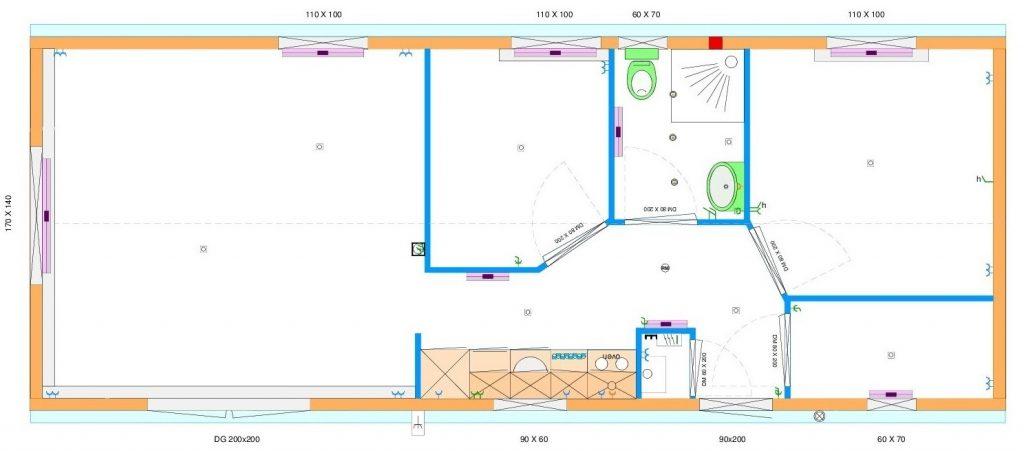 Grundrissentwurf einteiliges Mobilheim 4,60 x 12,00 m