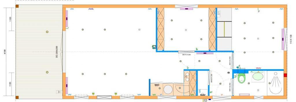 Grundrissentwurf einteiliges Mobilheim 4,90 x 13,00 zzgl. ueberdachte Terrasse 2,50 x 4,90 m
