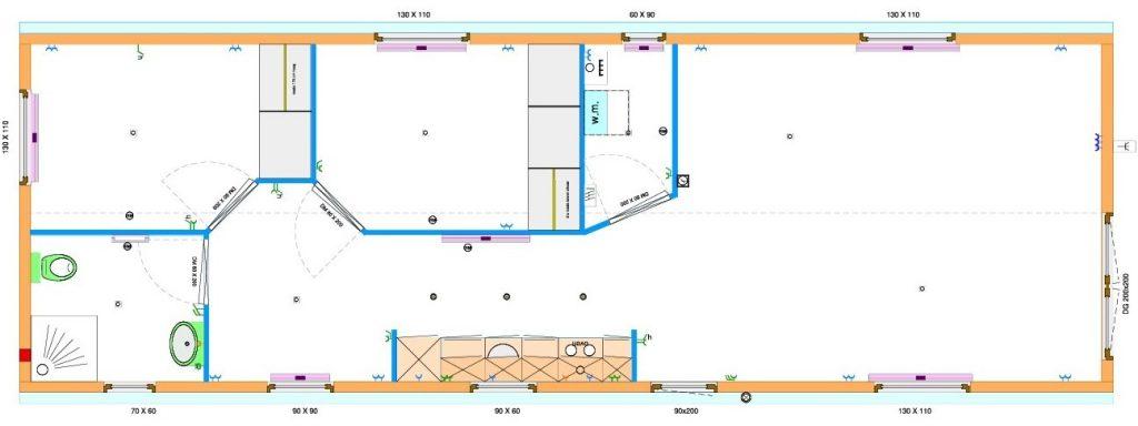 Grundrissentwurf einteiliges Mobilheim 4,90 x 14,90 m
