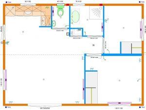Grundrissentwurf zweiteiliges Mobilheim 6,00 x 8,25 m