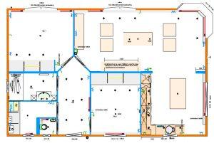 Grundrissentwurf zweiteiliges Mobilheim 8,00 x 12,50 m