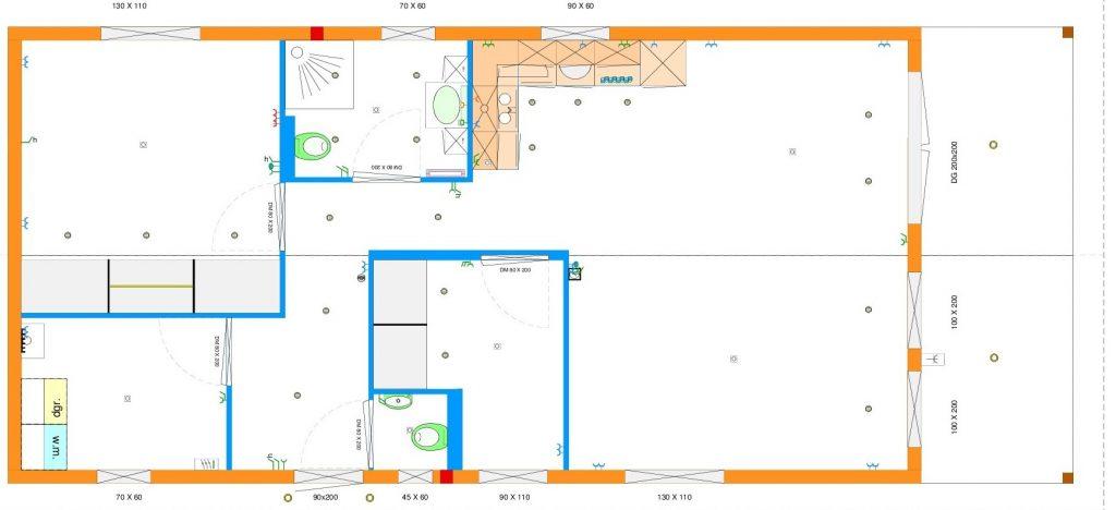 Grundrissentwurf 2-teiliges Mobilheim 8,00 x 12,00 m
