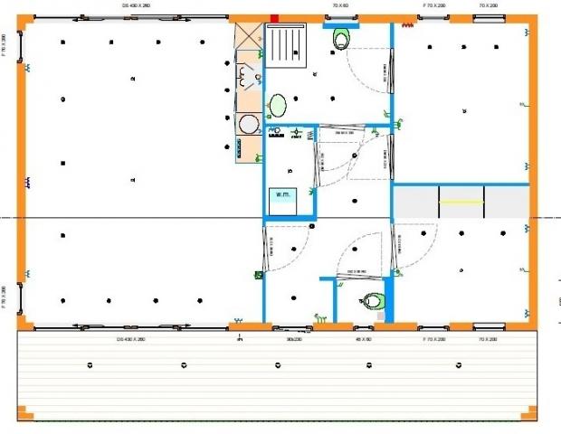 Grundrissentwurf Mobilheim Cube 9,00 x 11,50 m