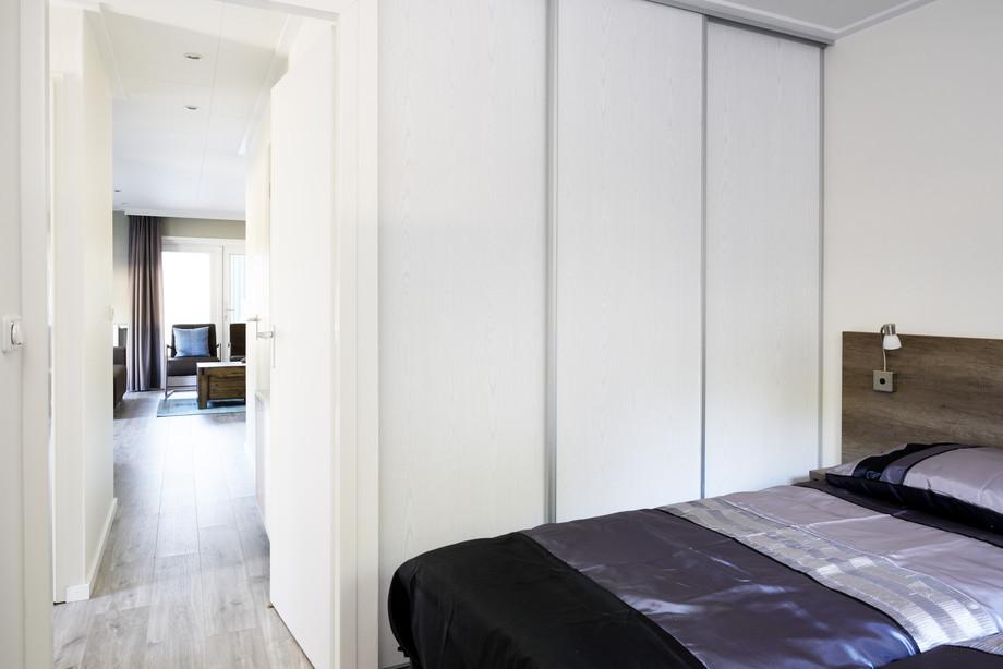 Mobilheim Holiday Blick aus dem Schlafzimmer
